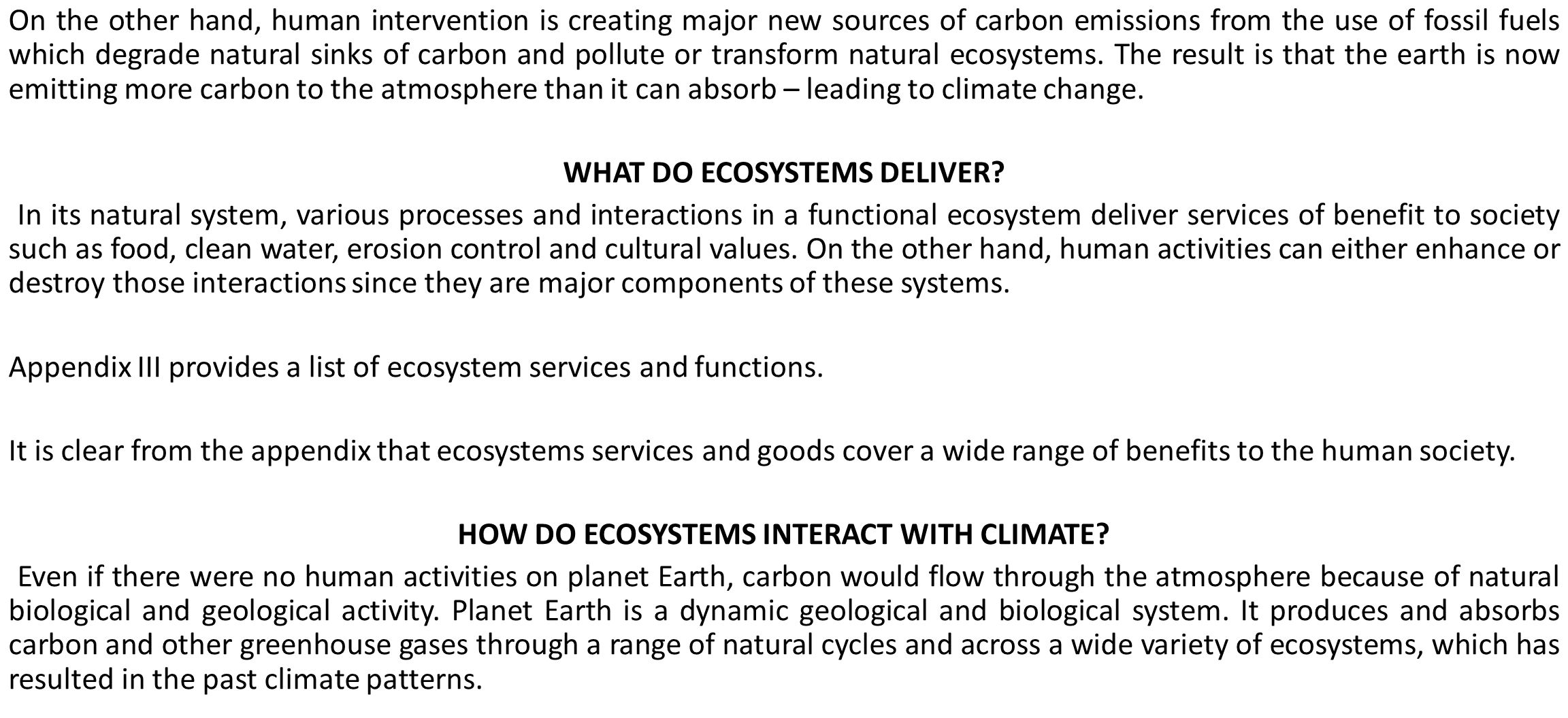 WHAT DO ECOSYSTEMS DELIVER