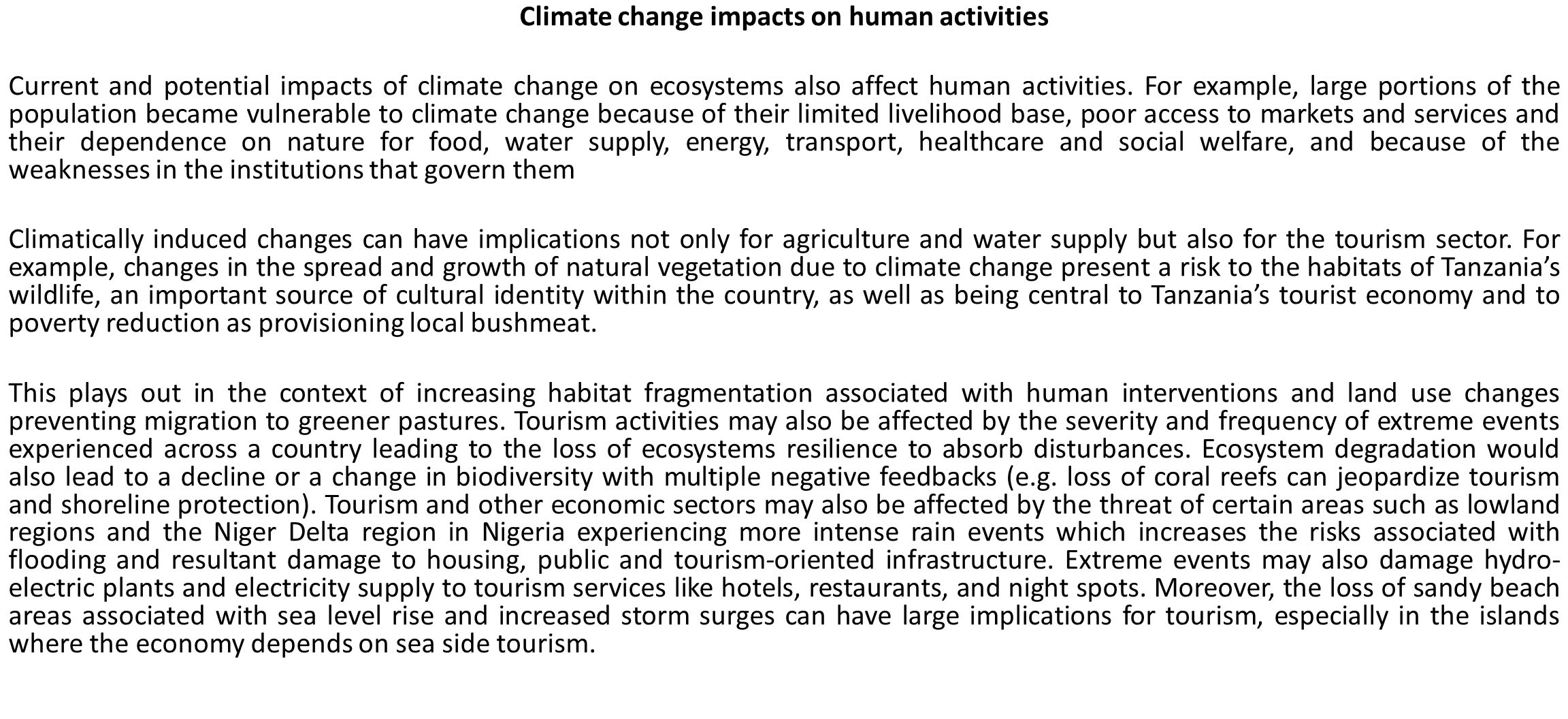 Climate change impacts on human activities