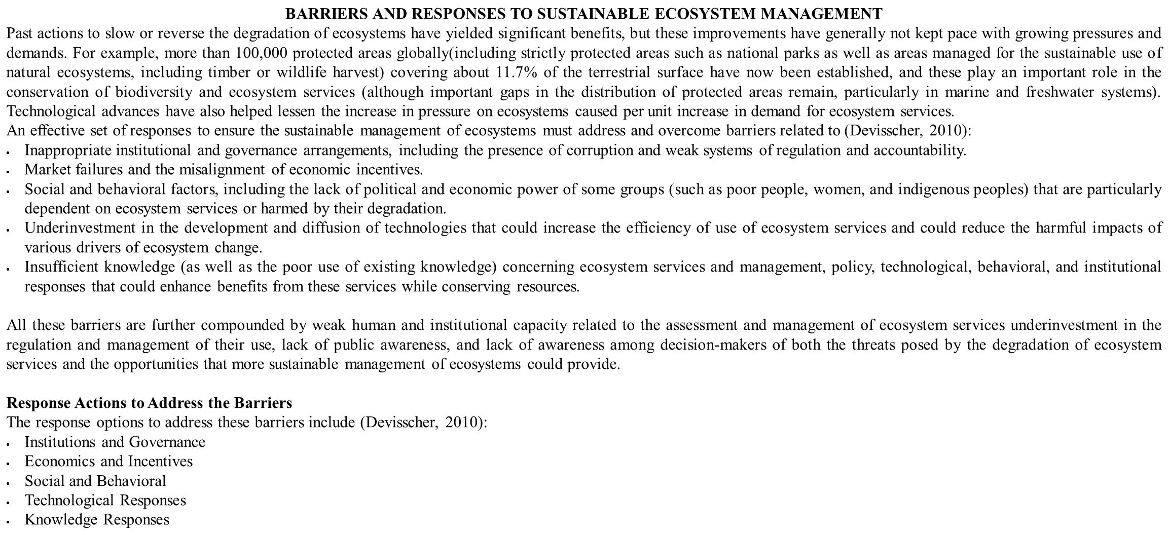 BARRIERS AND RESPONSES TO SUSTAINABLE ECOSYSTEM MANAGEMENT