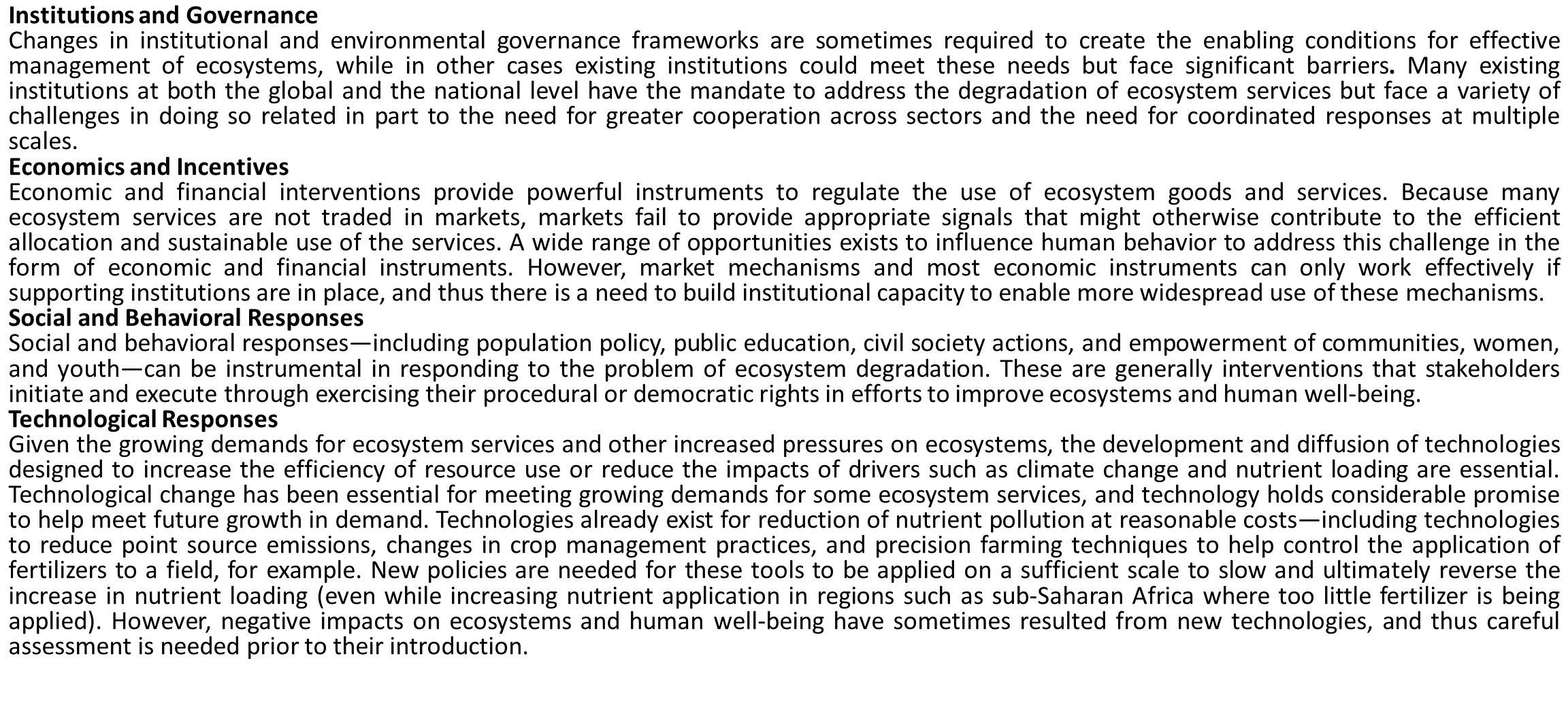 Institutions and Governance