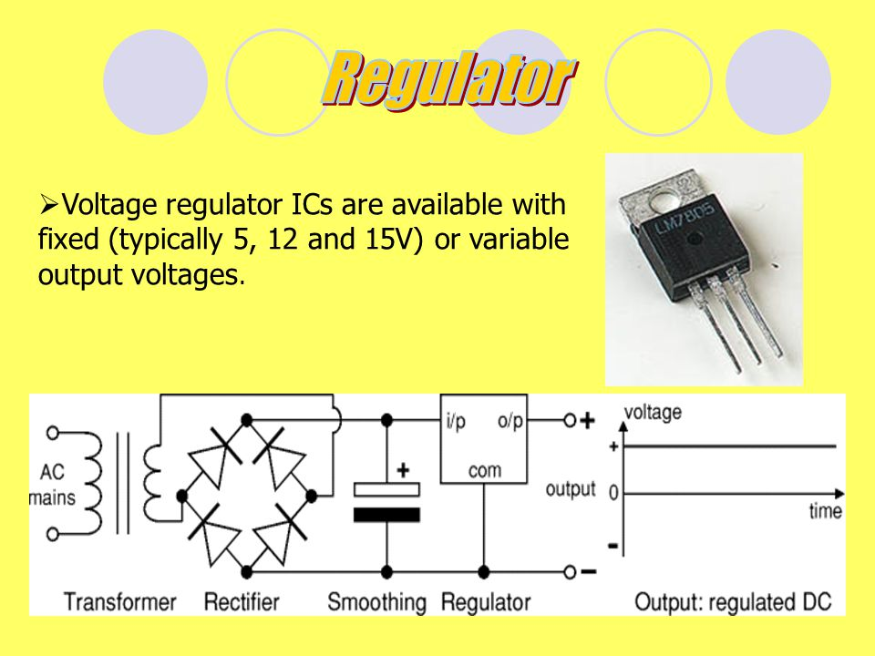 Regulator Voltage regulator ICs are available with fixed (typically 5, 12 and 15V) or variable output voltages.