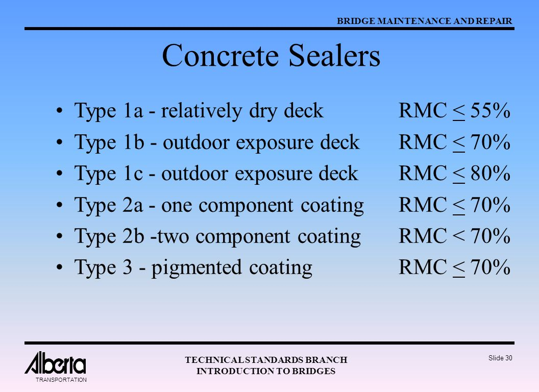 Concrete Sealers Type 1a - relatively dry deck RMC < 55%