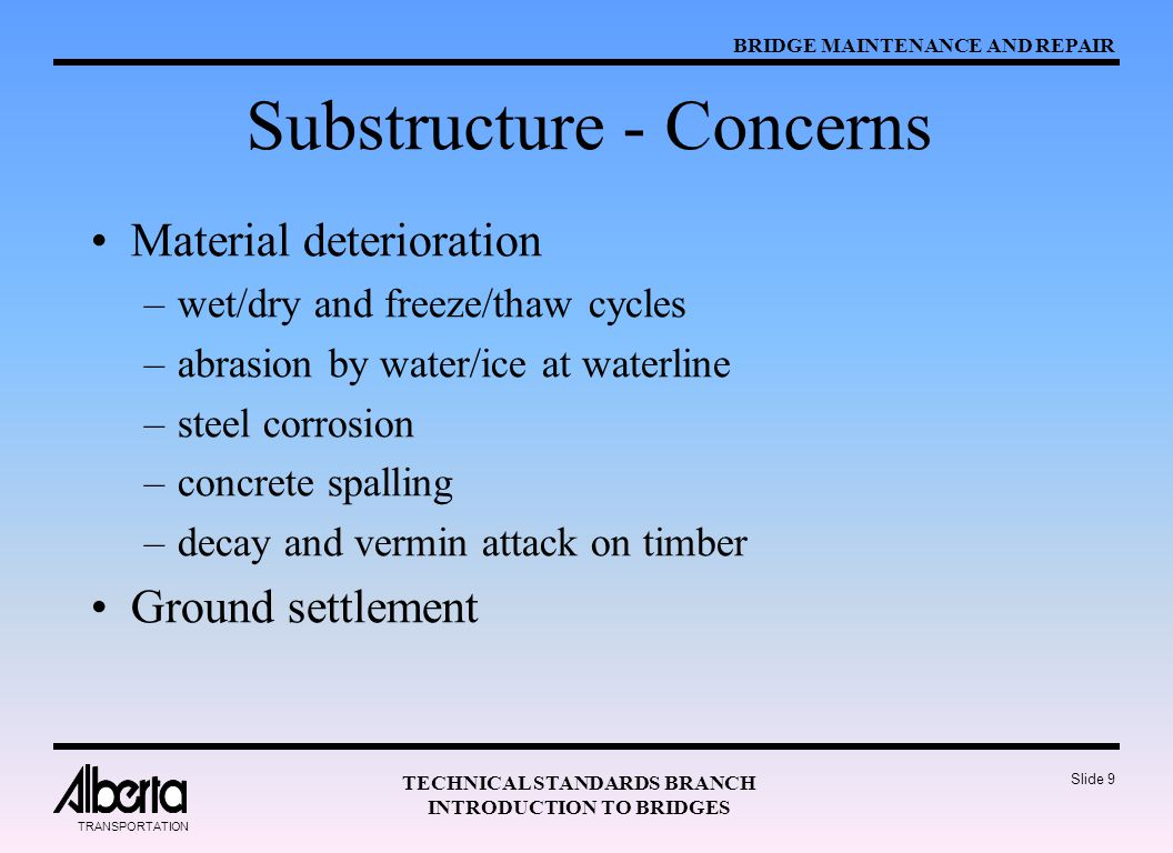 Substructure - Concerns