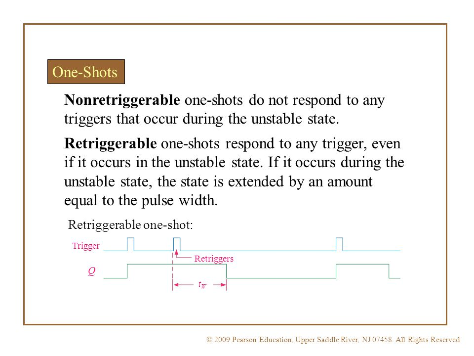 One-Shots Nonretriggerable one-shots do not respond to any triggers that occur during the unstable state.