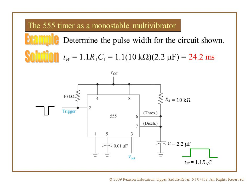 Example Solution The 555 timer as a monostable multivibrator