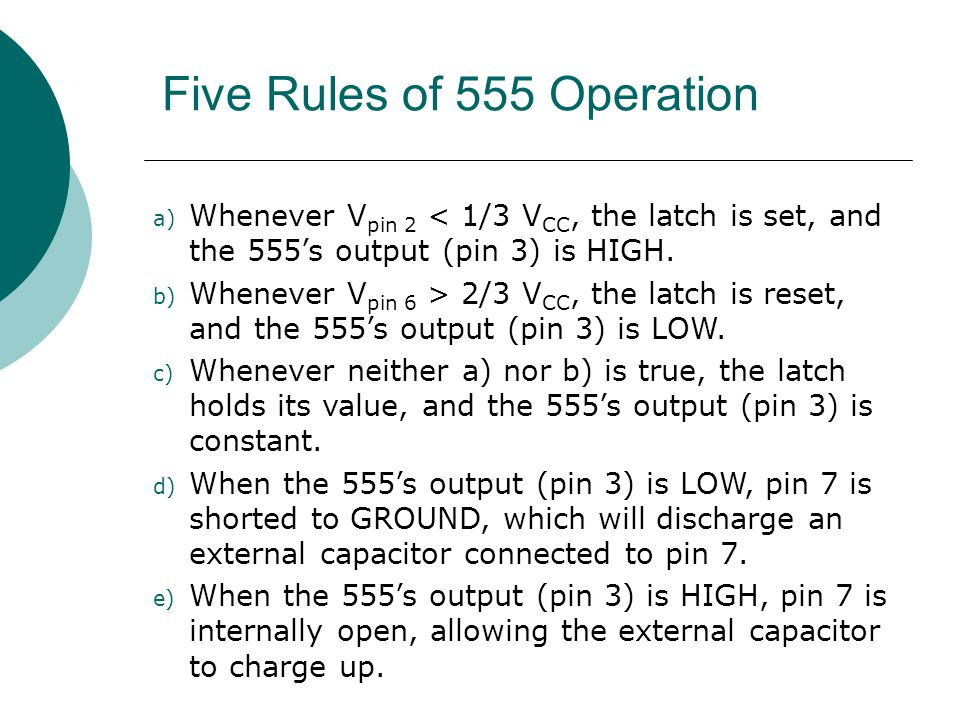 Five Rules of 555 Operation