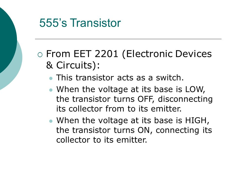 555's Transistor From EET 2201 (Electronic Devices & Circuits):