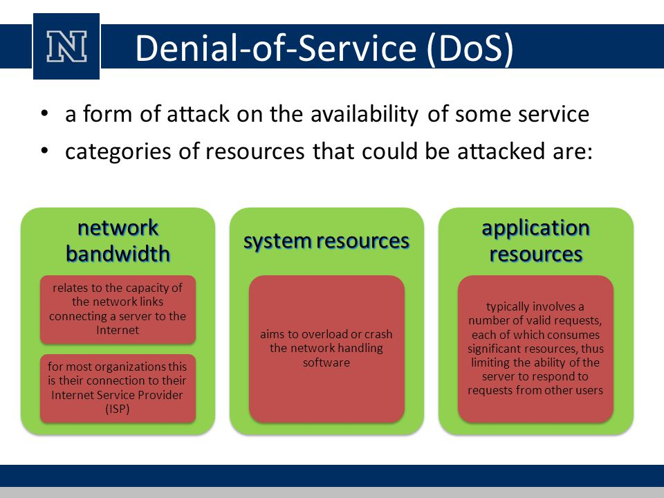 a introduction of denial of service attacks Denial of service attacks •a denial of service (dos) attack is an orchestrated traffic jam •purpose is to shut down a site, not penetrate it.