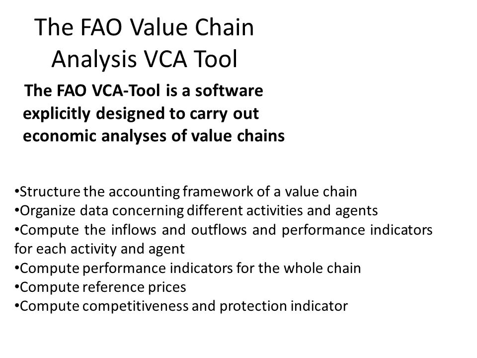 The FAO Value Chain Analysis VCA Tool