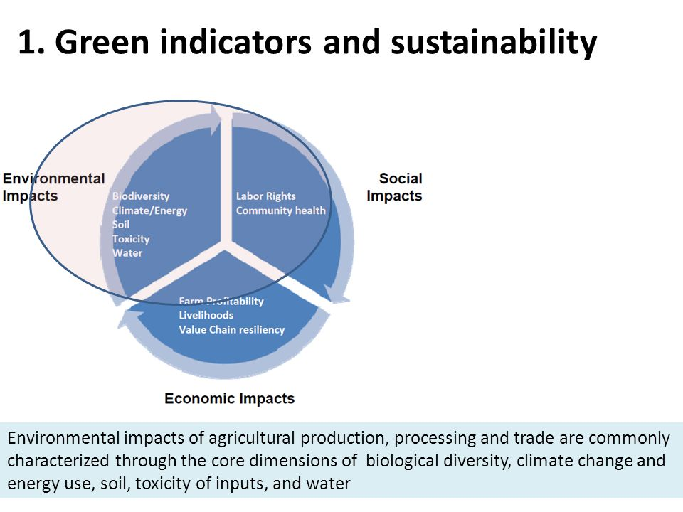 1. Green indicators and sustainability