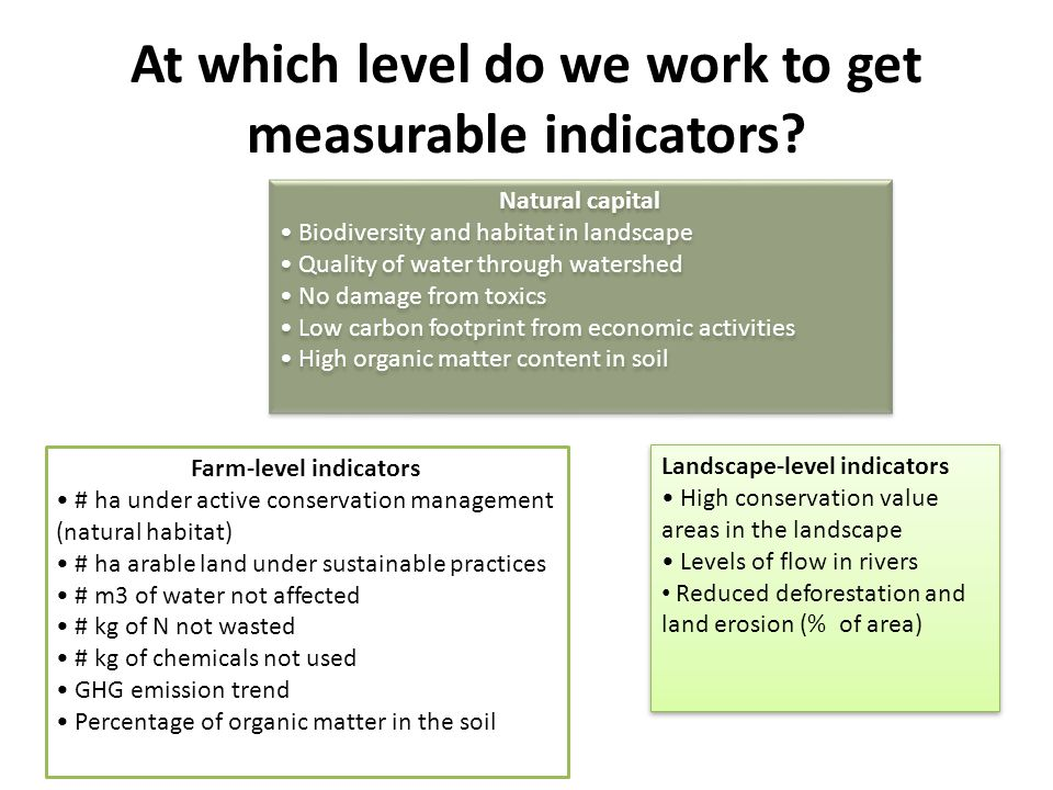 At which level do we work to get measurable indicators