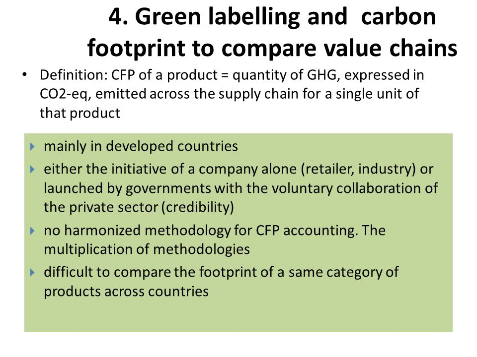 4. Green labelling and carbon footprint to compare value chains