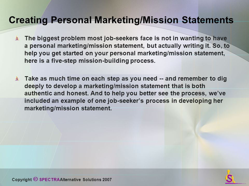 Developiing a Mission Statement