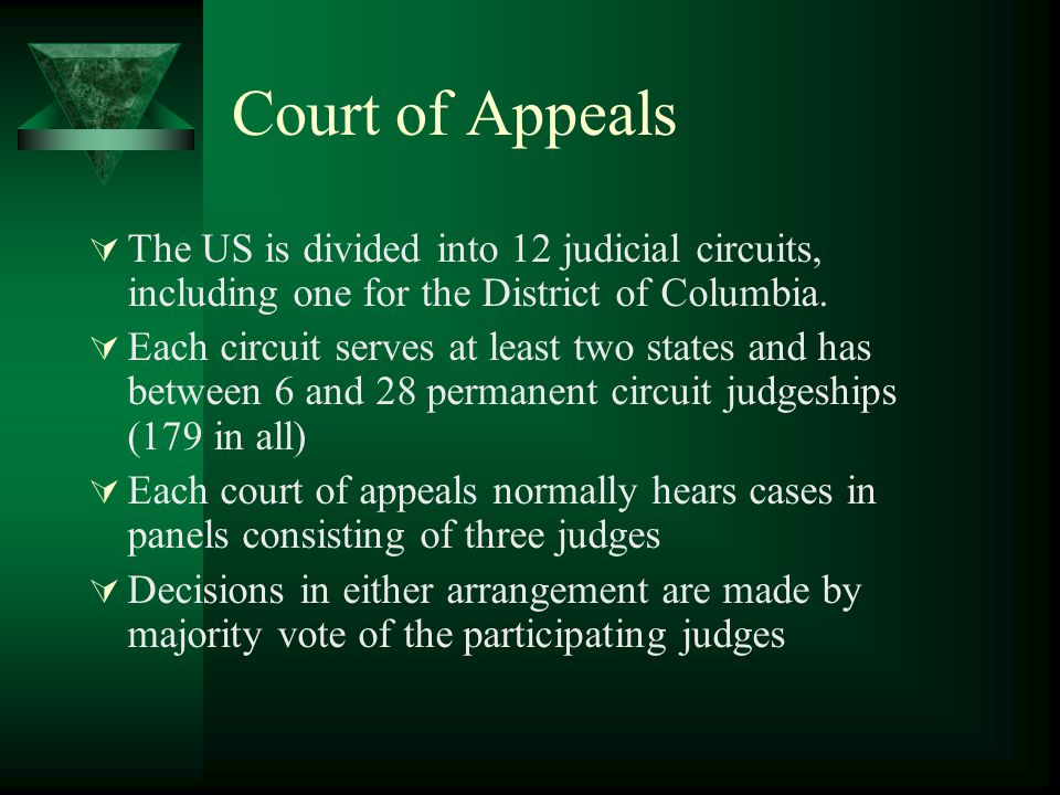 Court of Appeals The US is divided into 12 judicial circuits, including one for the District of Columbia.
