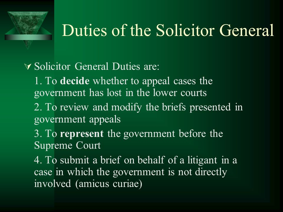 Duties of the Solicitor General