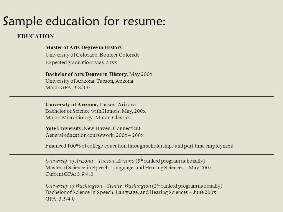 Sample Education For Resume:  Resume Current Education