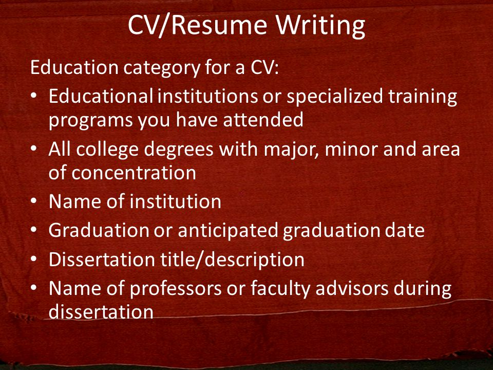 curriculum vitae  resume writing