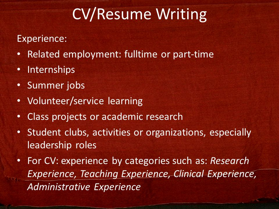 Curriculum VitaeResume Writing ppt video online download