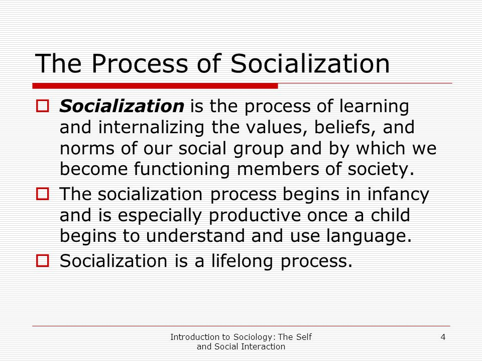 the lifelong process of socialization This article presents examples of the socialization process and subsequent impacts on lifelong learning additionally.