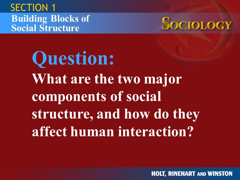 SECTION 1 Building Blocks of Social Structure. Question: