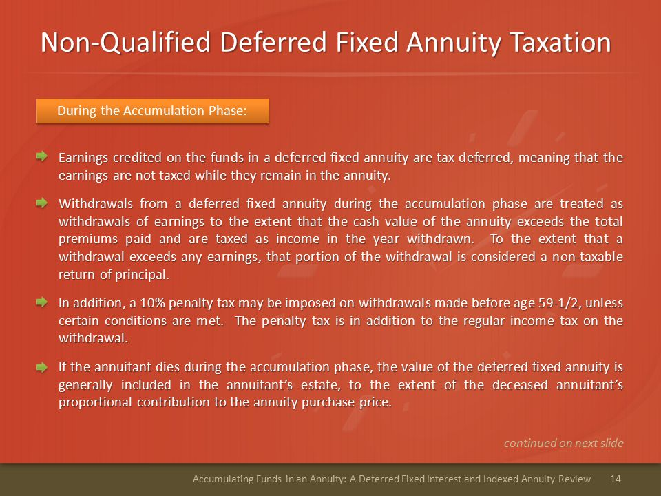 Non-Qualified Deferred Fixed Annuity Taxation