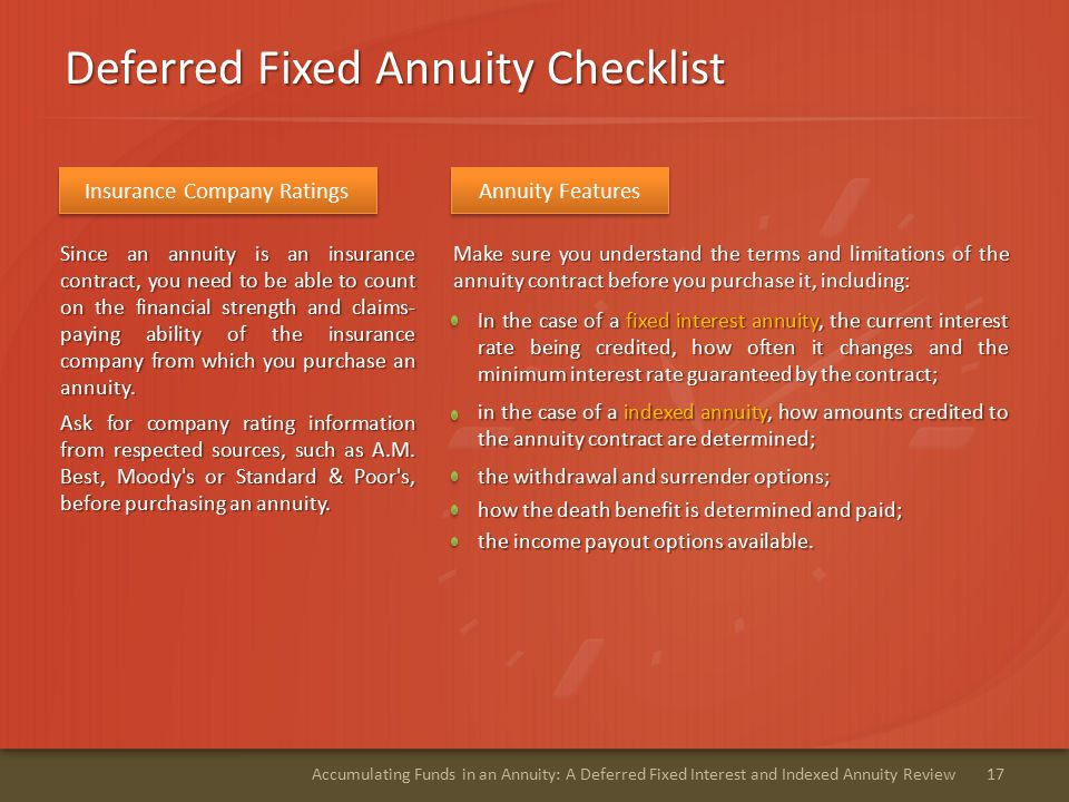 Deferred Fixed Annuity Checklist