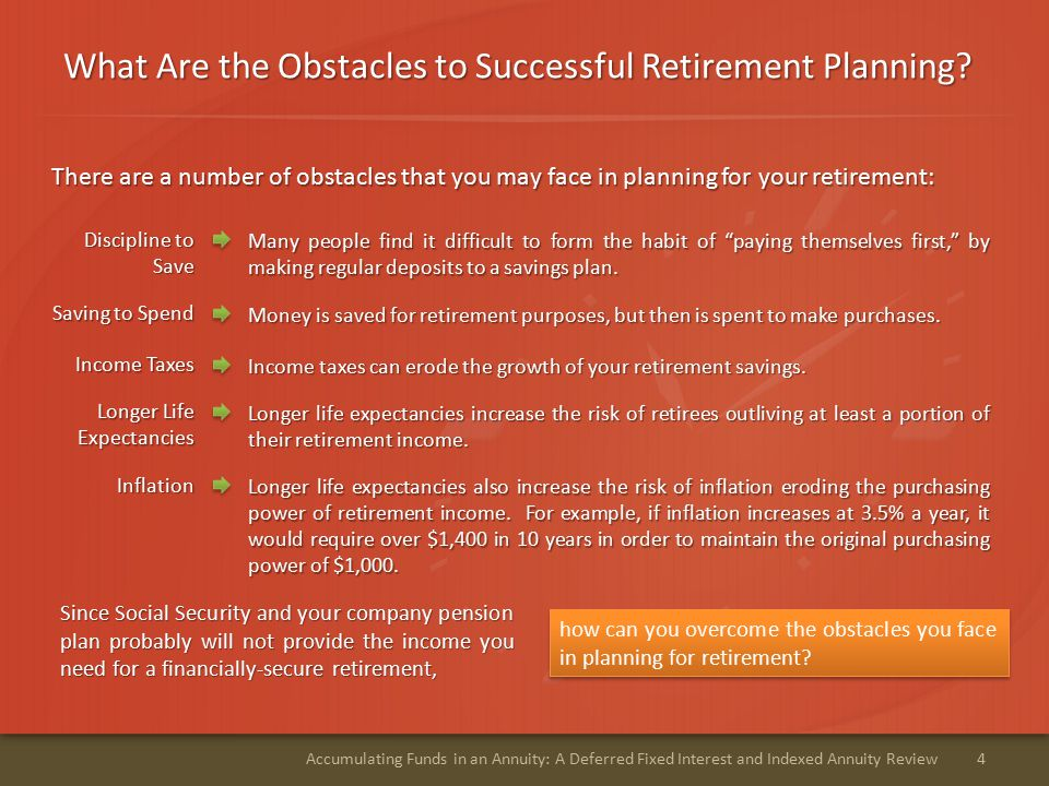 What Are the Obstacles to Successful Retirement Planning