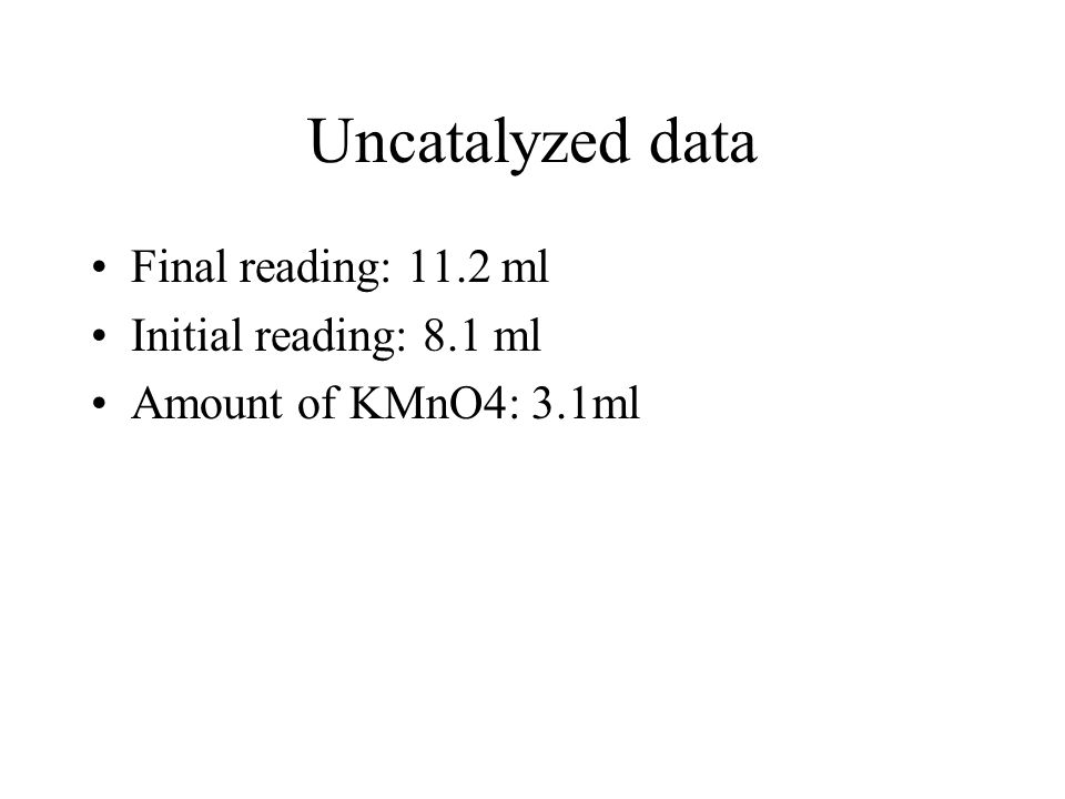 Uncatalyzed data Final reading: 11.2 ml Initial reading: 8.1 ml