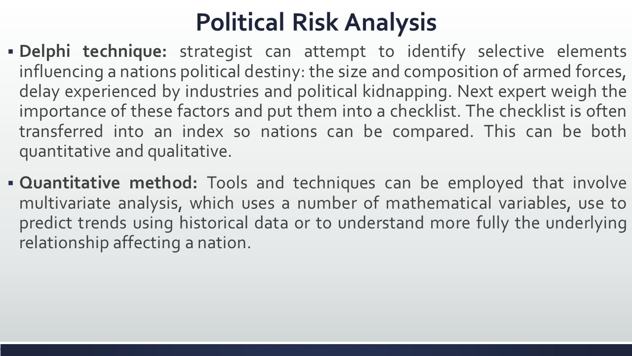 political risk assessment of the business International journal of business and management vol 5, no 7 july 2010 issn 1833-3850 e-issn 1833-8119 54 informing country risk assessment in international business adel al khattab (corresponding author) al-hussein bin talal university college of business administration and economics, department of.