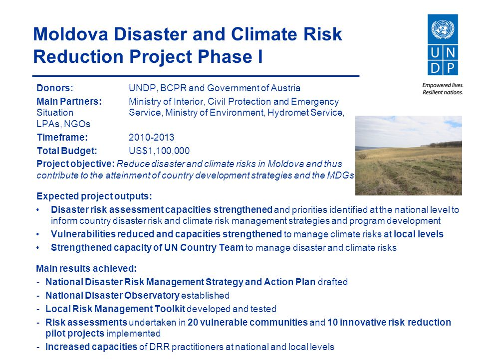 Moldova Disaster and Climate Risk Reduction Project Phase I
