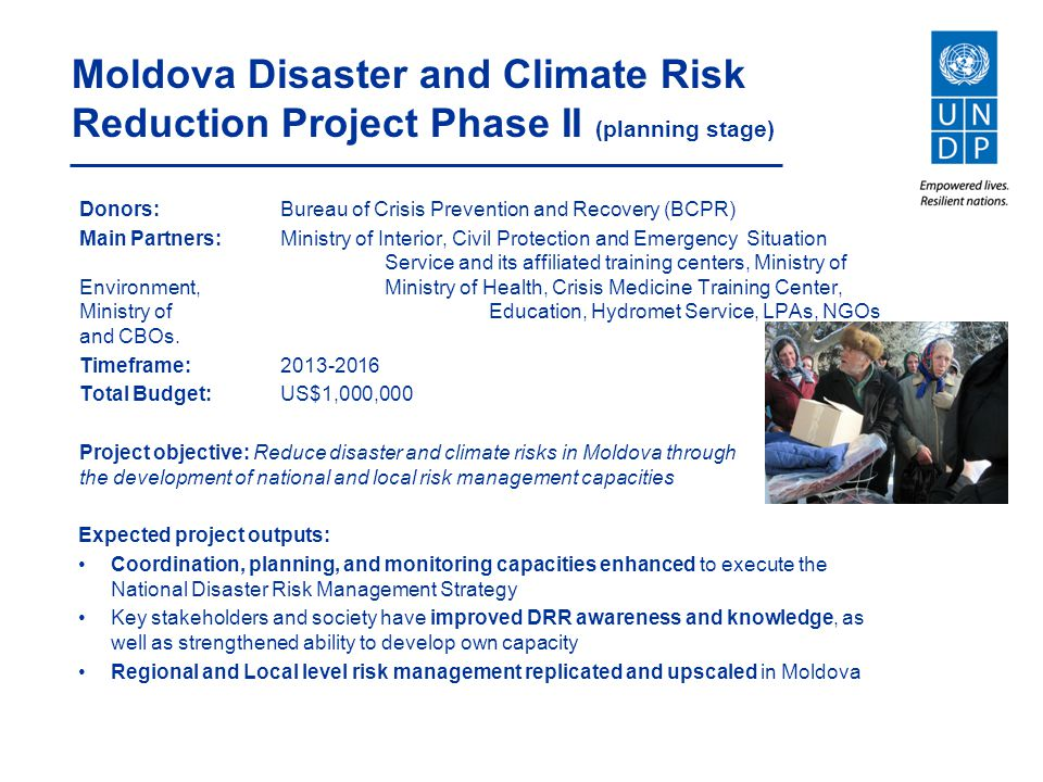 Moldova Disaster and Climate Risk Reduction Project Phase II (planning stage)