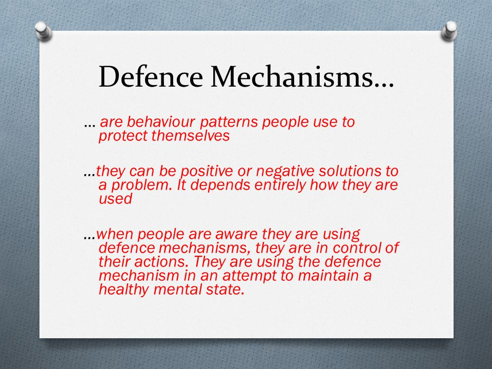 defense mechanisms in mental health Defence mechanisms in schizophrenia article in personality and mental health 2(4)  defence style may be an important mediator of psychosocial outcomes, and knowledge of specific defence.