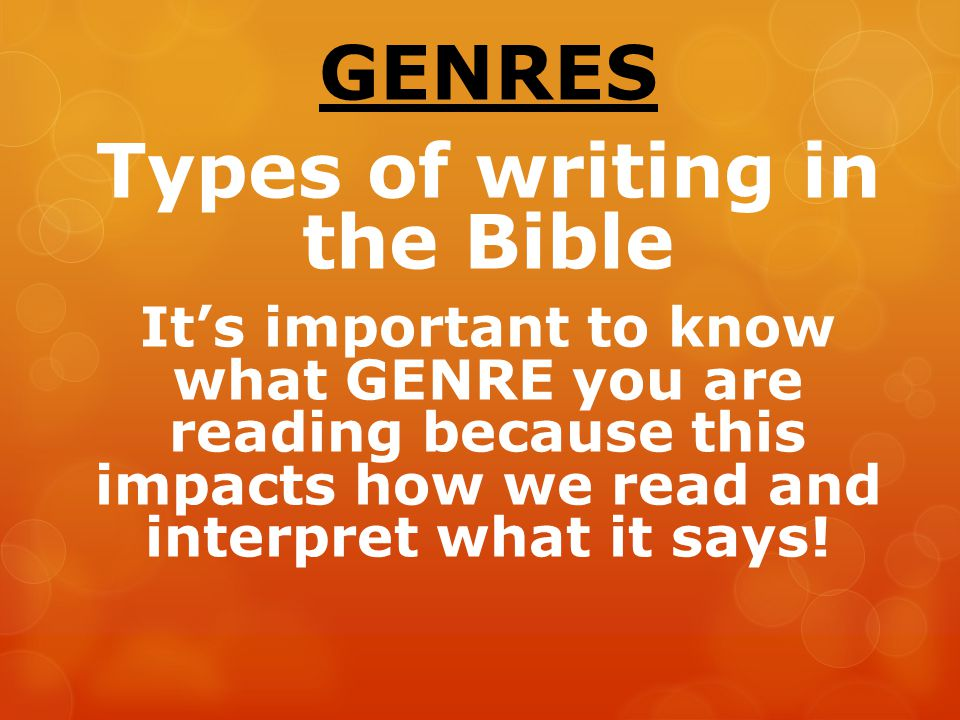 Genres in the Bible…. - ppt download