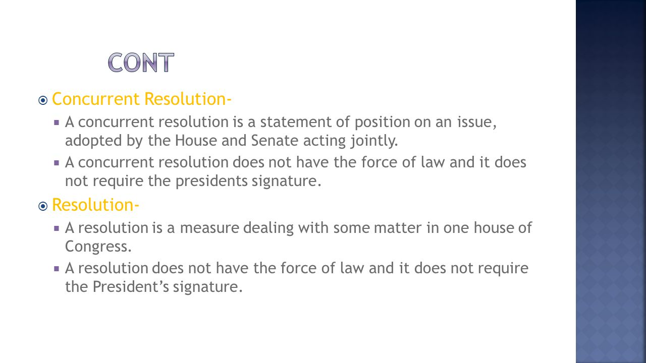 cont Concurrent Resolution- Resolution-