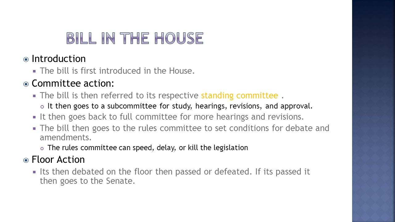 Bill in the house Introduction Committee action: Floor Action