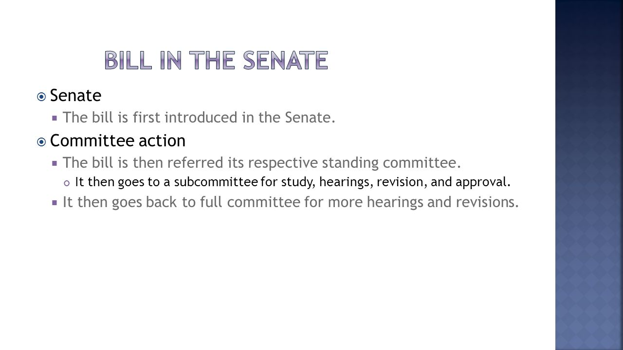 Bill in the senate Senate Committee action