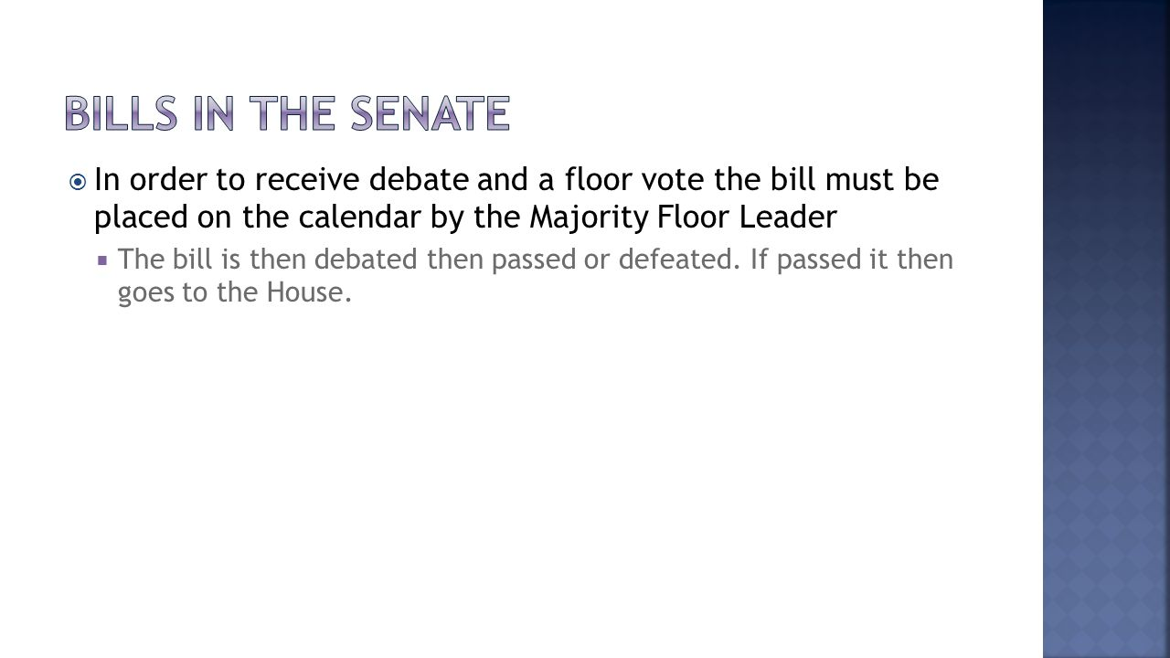 Bills in the senate In order to receive debate and a floor vote the bill must be placed on the calendar by the Majority Floor Leader.