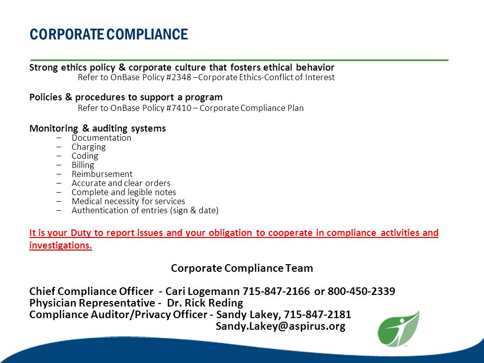 Welcome to aspirus wausau hospital ppt download - Corporate compliance officer ...