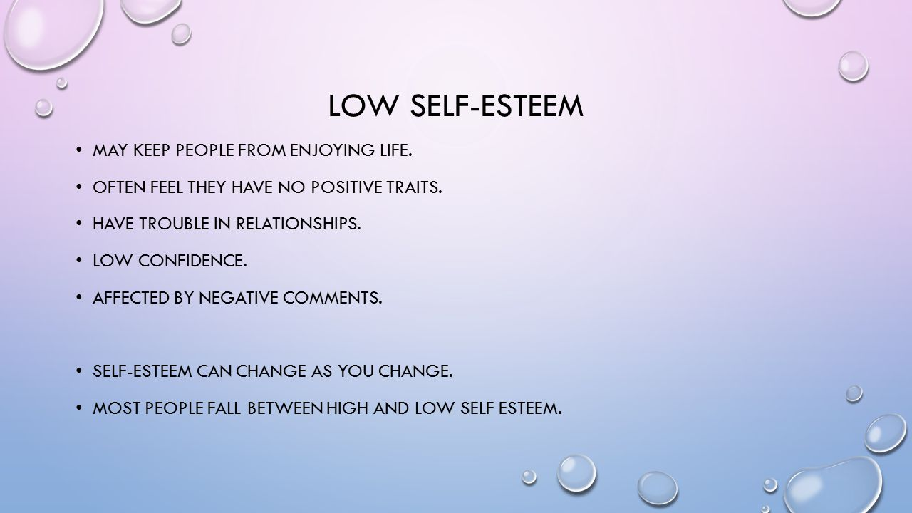 Systemic low self esteem in dating