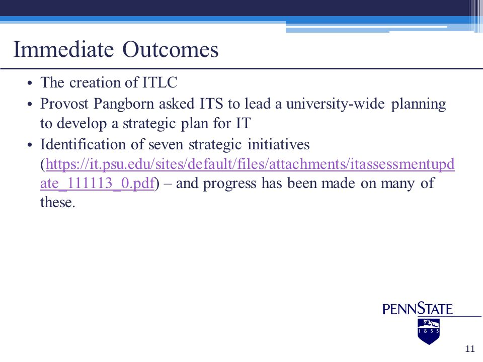 Immediate Outcomes The creation of ITLC