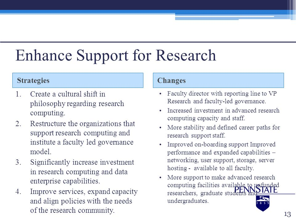 Enhance Support for Research