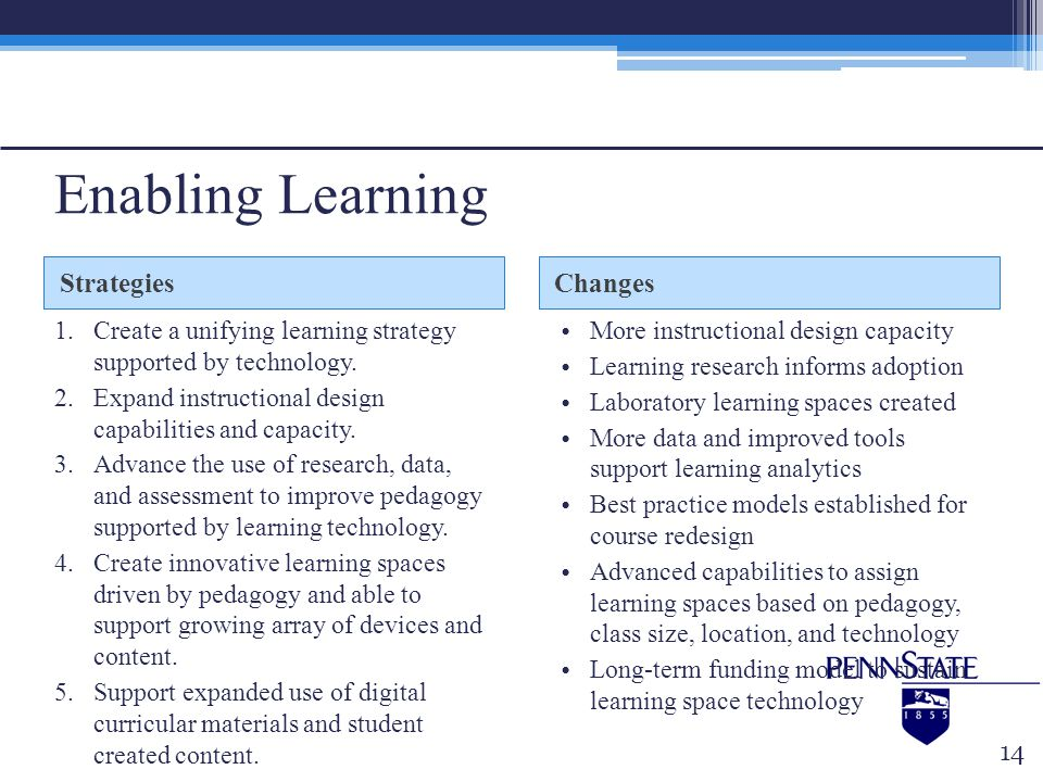 Enabling Learning Strategies Changes