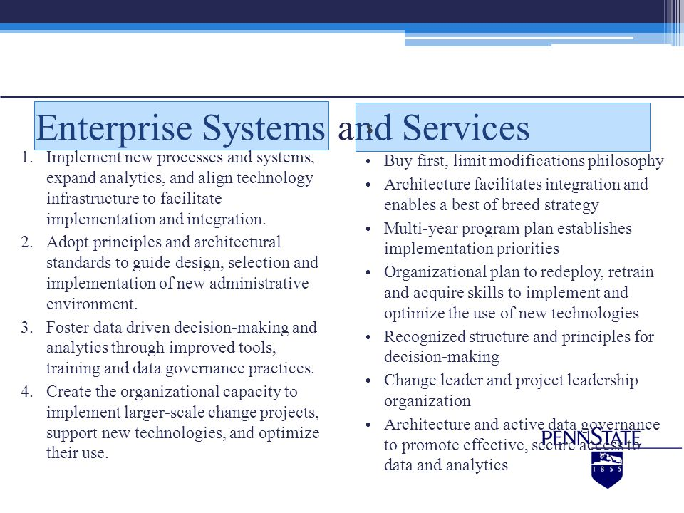 Enterprise Systems and Services