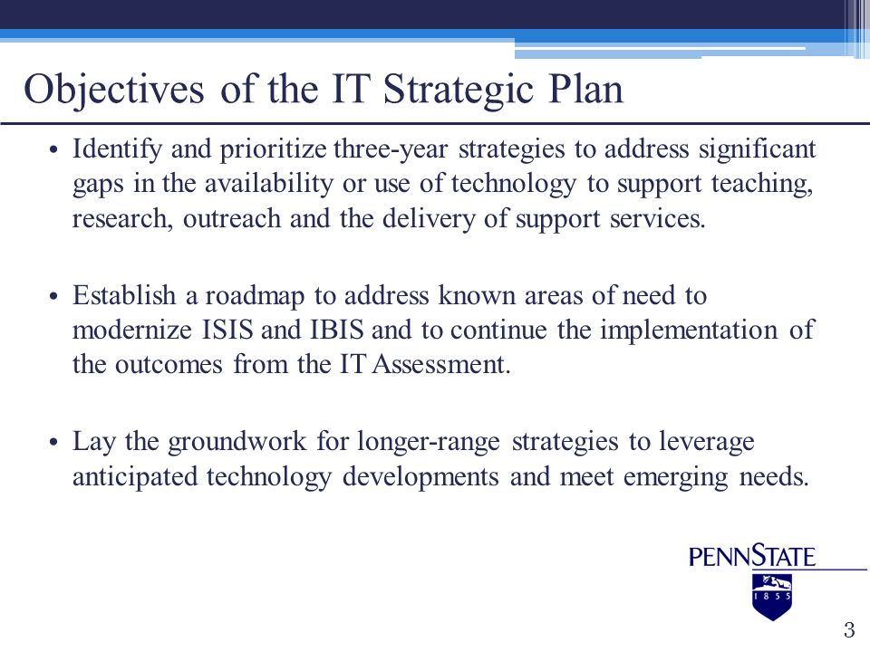 Objectives of the IT Strategic Plan