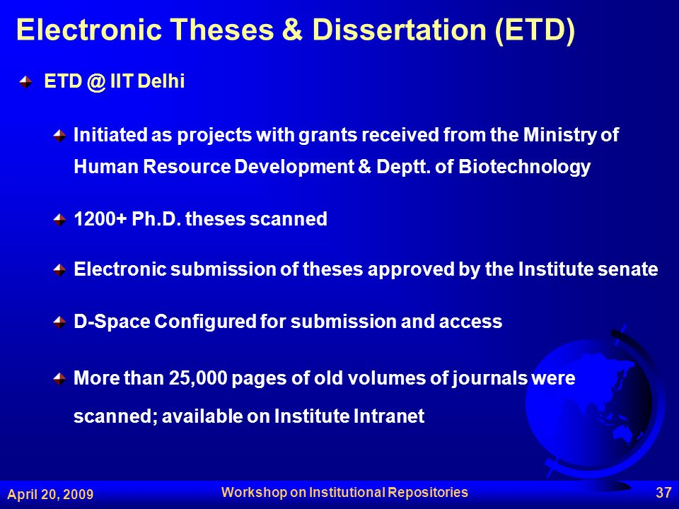 Electronic theses and dissertations (etd repository