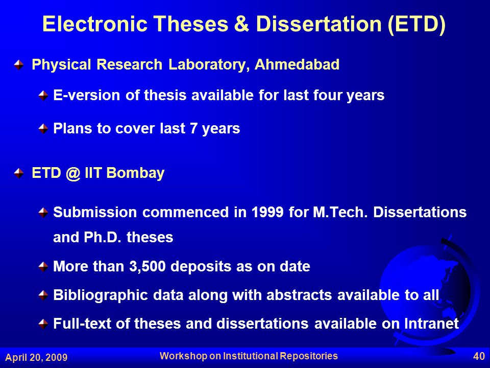 electronic thesis and dissertation database