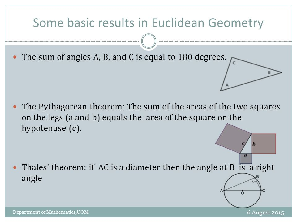 euclidean geometry essays 1 kant's pre-critical philosophy of mathematics in 1763, kant entered an essay prize competition addressing the question of whether the first principles of metaphysics and morality can be proved, and thereby achieve the same degree of certainty as mathematical truths.