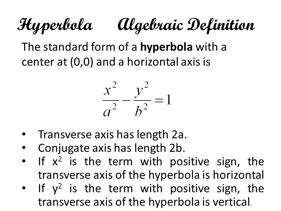 Hyperbola Algebraic Definition