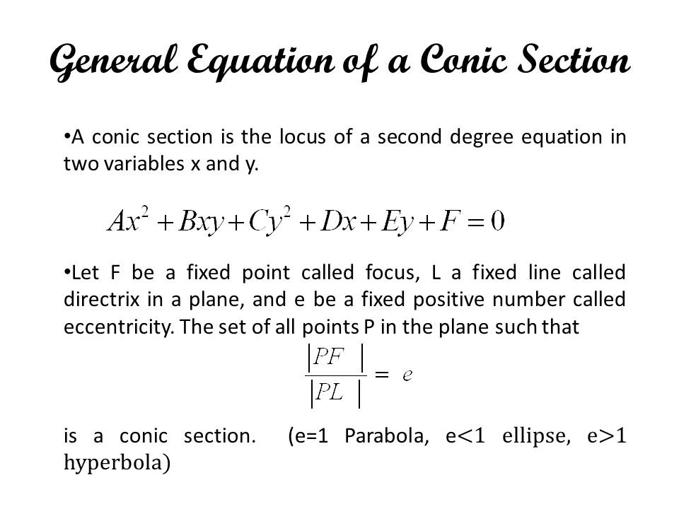 General Equation of a Conic Section
