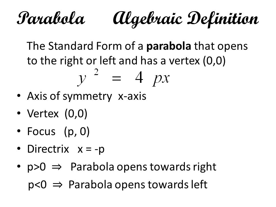 Parabola Algebraic Definition